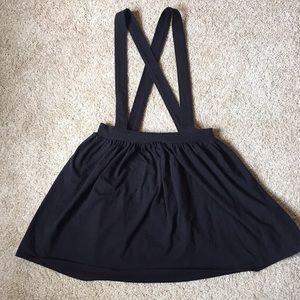 Black strapped overall skirt